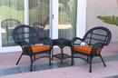 Jeco W00211_2-CES016 3Pc Santa Maria Black Wicker Chair Set - Orange Cushions