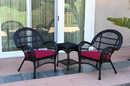 Jeco W00211_2-CES030 3Pc Santa Maria Black Wicker Chair Set - Red Cushions