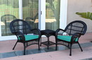 Jeco W00211_2-CES032 3Pc Santa Maria Black Wicker Chair Set - Turquoise Cushions
