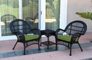 Jeco W00211_2-CES034 3Pc Santa Maria Black Wicker Chair Set - Hunter Green Cushions