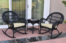 Jeco W00211_2-RCES001 3Pc Santa Maria Black Rocker Wicker Chair Set - Ivory Cushions