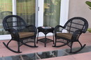 Jeco W00211_2-RCES007 3Pc Santa Maria Black Rocker Wicker Chair Set - Brown Cushions