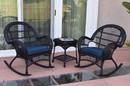 Jeco W00211_2-RCES011 3Pc Santa Maria Black Rocker Wicker Chair Set - Midnight Blue Cushions