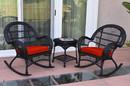 Jeco W00211_2-RCES018 3Pc Santa Maria Black Rocker Wicker Chair Set - Brick Red Cushions