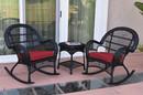 Jeco W00211_2-RCES030 3Pc Santa Maria Black Rocker Wicker Chair Set - Red Cushions