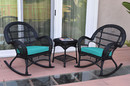 Jeco W00211_2-RCES032 3Pc Santa Maria Black Rocker Wicker Chair Set - Turquoise Cushions
