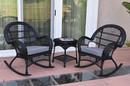 Jeco W00211_2-RCES033 3Pc Santa Maria Black Rocker Wicker Chair Set - Steel Blue Cushions