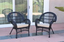 Jeco W00211-C_2-FS006 Santa Maria Black Wicker Chair With Tan Cushion - Set Of 2