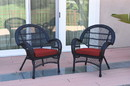 Jeco W00211-C_2-FS018 Santa Maria Black Wicker Chair With Brick Red Cushion - Set Of 2