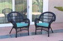 Jeco W00211-C_2-FS027 Santa Maria Black Wicker Chair With Sky Blue Cushion - Set Of 2