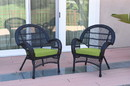 Jeco W00211-C_2-FS029 Santa Maria Black Wicker Chair With Sage Green Cushion - Set Of 2