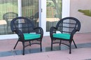 Jeco W00211-C_2-FS032 Santa Maria Black Wicker Chair With Turquoise Cushion - Set Of 2