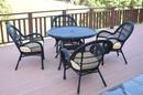 Jeco W00211-D-G-FS001 5Pc Santa Maria Black Wicker Dining Set - Ivory Cushions