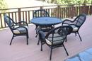 Jeco W00211-D-G-FS006 5Pc Santa Maria Black Wicker Dining Set - Tan Cushions