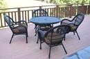 Jeco W00211-D-G-FS007 5Pc Santa Maria Black Wicker Dining Set - Brown Cushions