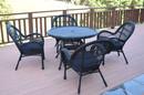 Jeco W00211-D-G-FS011 5Pc Santa Maria Black Wicker Dining Set - Midnight Blue Cushions
