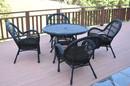 Jeco W00211-D-G-FS017 5Pc Santa Maria Black Wicker Dining Set - Black Cushions