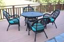 Jeco W00211-D-G-FS027 5Pc Santa Maria Black Wicker Dining Set - Sky Blue Cushions