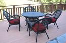 Jeco W00211-D-G-FS030 5Pc Santa Maria Black Wicker Dining Set - Red Cushions