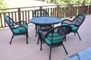 Jeco W00211-D-G-FS032 5Pc Santa Maria Black Wicker Dining Set - Turquoise Cushions