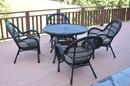 Jeco W00211-D-G-FS033 5Pc Santa Maria Black Wicker Dining Set - Steel Blue Cushions