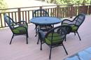 Jeco W00211-D-G-FS034 5Pc Santa Maria Black Wicker Dining Set - Hunter Green Cushions
