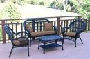 Jeco W00211-G-FS007 4Pc Santa Maria Black Wicker Conversation Set - Brown Cushions