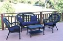 Jeco W00211-G-FS011 4Pc Santa Maria Black Wicker Conversation Set - Midnight Blue Cushions