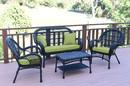 Jeco W00211-G-FS029 4Pc Santa Maria Black Wicker Conversation Set - Sage Green Cushions