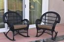 Jeco W00211-R_2-FS007 Santa Maria Black Wicker Rocker Chair With Brown Cushion - Set Of 2