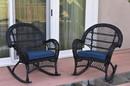 Jeco W00211-R_2-FS011 Santa Maria Black Wicker Rocker Chair With Midnight Blue Cushion - Set Of 2