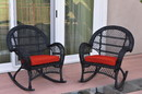 Jeco W00211-R_2-FS018 Santa Maria Black Wicker Rocker Chair With Brick Red Cushion - Set Of 2