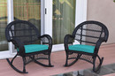 Jeco W00211-R_2-FS032 Santa Maria Black Wicker Rocker Chair With Turquoise Cushion - Set Of 2