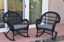 Jeco W00211-R_2-FS033 Santa Maria Black Wicker Rocker Chair With Steel Blue Cushion - Set Of 2