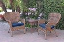 Jeco W00212_2-CES011 Windsor Honey Wicker Chair And End Table Set With Midnight Blue Chair Cushion