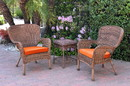 Jeco W00212_2-CES016 Windsor Honey Wicker Chair And End Table Set With Orange Chair Cushion