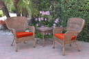 Jeco W00212_2-CES018 Windsor Honey Wicker Chair And End Table Set With Brick Red Chair Cushion