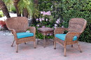 Jeco W00212_2-CES027 Windsor Honey Wicker Chair And End Table Set With Sky Blue Chair Cushion
