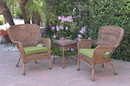 Jeco W00212_2-CES029 Windsor Honey Wicker Chair And End Table Set With Sage Green Chair Cushion
