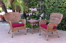 Jeco W00212_2-CES030 Windsor Honey Wicker Chair And End Table Set With Red Chair Cushion