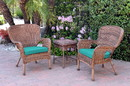 Jeco W00212_2-CES032 Windsor Honey Wicker Chair And End Table Set With Turquoise Chair Cushion