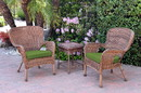 Jeco W00212_2-CES034 Windsor Honey Wicker Chair And End Table Set With Hunter Green Chair Cushion