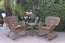 Jeco W00212_2-RCES007 Windsor Honey Wicker Rocker Chair And End Table Set With Brown Chair Cushion