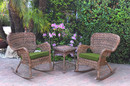 Jeco W00212_2-RCES034 Windsor Honey Wicker Rocker Chair And End Table Set With Hunter Green Chair Cushion