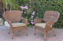 Jeco W00212-C_2-FS006 Set Of 2 Windsor Honey Resin Wicker Chair With Tan Cushions