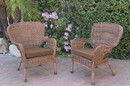 Jeco W00212-C_2-FS007 Set Of 2 Windsor Honey Resin Wicker Chair With Brown Cushions