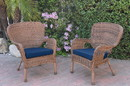 Jeco W00212-C_2-FS011 Set Of 2 Windsor Honey Resin Wicker Chair With Midnight Blue Cushions