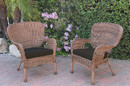 Jeco W00212-C_2-FS017 Set Of 2 Windsor Honey Resin Wicker Chair With Black Cushions