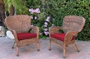 Jeco W00212-C_2-FS030 Set Of 2 Windsor Honey Resin Wicker Chair With Red Cushion
