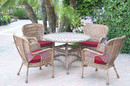 Jeco W00212-D-G-FS030 5Pc Windsor Honey Wicker Dining Set - Red Cushions